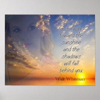 Poster Faites face au soleil -- Citation de Walt Whitman