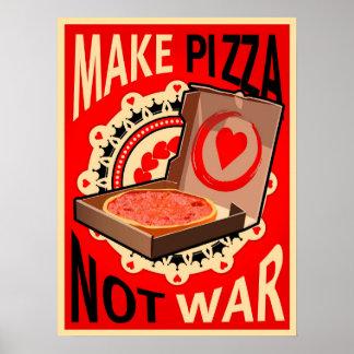 Poster Faites la pizza, pas guerre, affiche