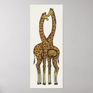 Poster Famille dans l'expectative de girafe (avril et
