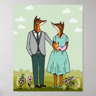 Poster Famille de Fox - c'est une affiche de bébé de
