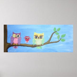 Poster Famille de hibou sur l'arbre I