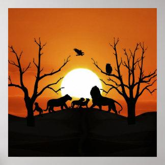 Poster Famille de lion au coucher du soleil Afrique