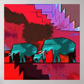 Poster Famille d'éléphants