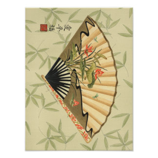 Poster Fan de geisha avec le feuille et l'impression