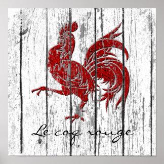 Poster Fard à joues de Le coq le bois patiné de coq rouge