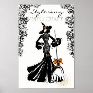 Poster fashionillustration de Halloween avec la dentelle