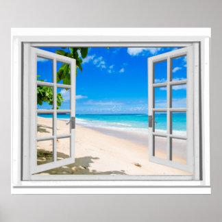 Poster Fausse fenêtre avec la vue d'océan tropicale de