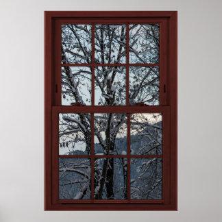 Poster Fausse fenêtre - illusion - vue 2 en bois d'hiver