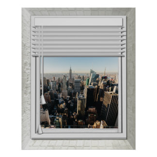 Poster Fausse vue de fenêtre de New York City