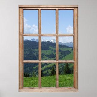 Poster Faux Mountain View - belle scène d'une fenêtre