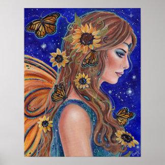 Poster Fée de tournesol avec l'art de papillons par Renee