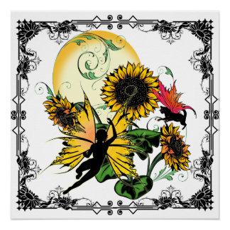 Poster Fée d'ombre de tournesol et chat cosmique