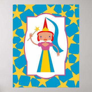 Poster Fée enchantée avec la baguette magique magique