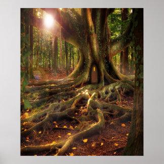 Poster Fées, Wiccan, païen, forêt ensoleillée