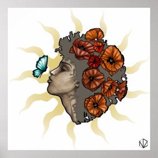 Poster femme avec des fleurs - le Soleil de