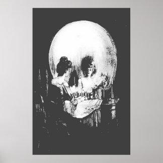Poster Femme avec la réflexion de crâne de Halloween dans