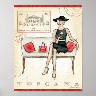 Poster Femme buvant du vin rouge