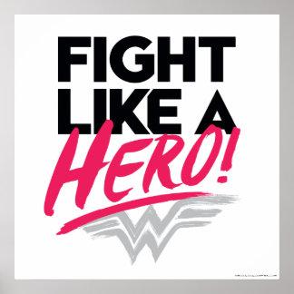 Poster Femme de merveille - combat comme un héros
