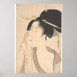 Poster Femme détendant après son Bath