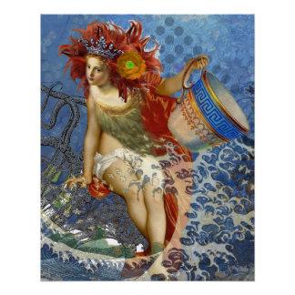 Poster Femme lunatique gothique de Verseau vintage de