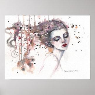 Poster Femme satisfaite d'art d'aquarelle d'imaginaire 12