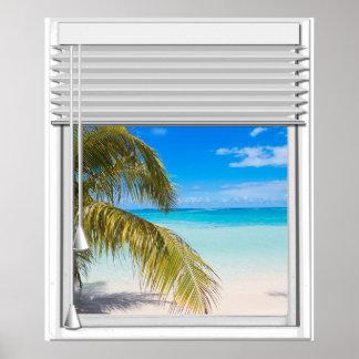 Poster Fenêtre artificielle de vue de plage avec des
