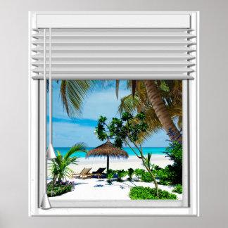 Poster Fenêtre bleue de faux de vue de plage de mer avec