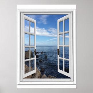 Poster Fenêtre bleue de Faux de vue d'océan de mer