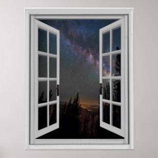 Poster Fenêtre de faux de galaxie de manière laiteuse de