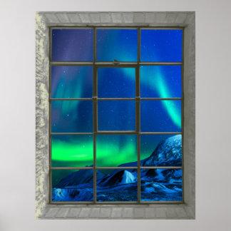 Poster Fenêtre de Faux de lumières du nord de Borealis de