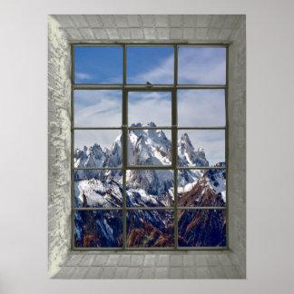 Poster fenêtre de faux de Mountain View 3D