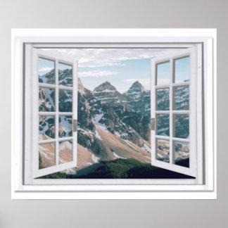 Poster Fenêtre de faux de vue de crêtes de montagne