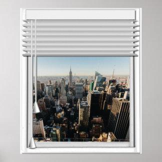 Poster Fenêtre de faux de vue de New York City avec des