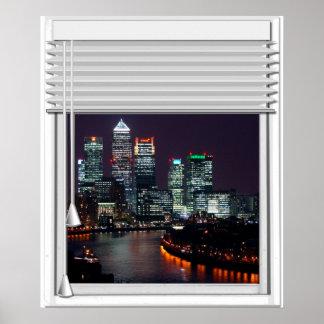 Poster Fenêtre de faux de vue de ville de Londres avec