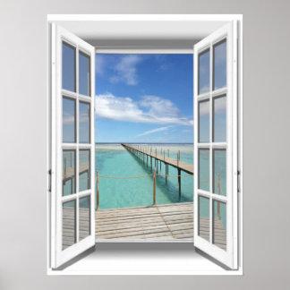 Poster fenêtre de faux de vue d'océan de la promenade 3D