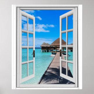 Poster Fenêtre de Faux de vue d'océan de pilier de