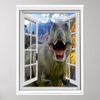 Poster Fenêtre de faux d'image de dinosaure de T-Rex
