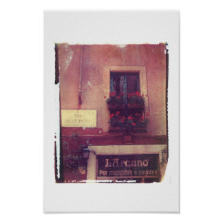 Poster Fenêtre de Rome avec des géraniums