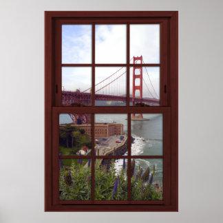 Poster Fenêtre en bois de cerise de Faux de golden gate