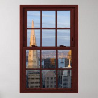 Poster Fenêtre en bois de cerise de Faux d'horizon de San