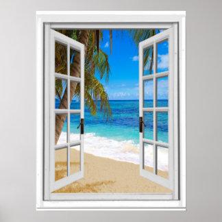 Poster Fenêtre tranquille de faux de vue d'océan de plage