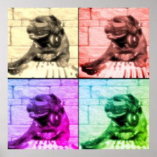 Poster Fente musicale d'image de l'art quatre de chien