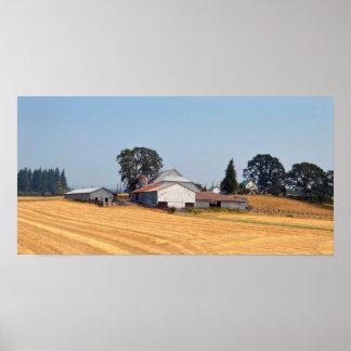 Poster Ferme de l'Orégon et champ de blé moissonné