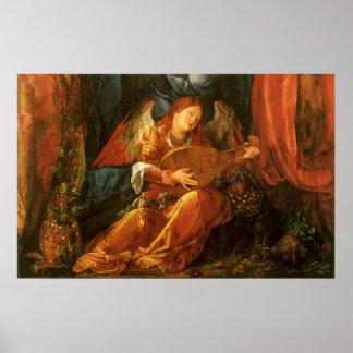Poster Festin de l'ange de guirlandes de rose par
