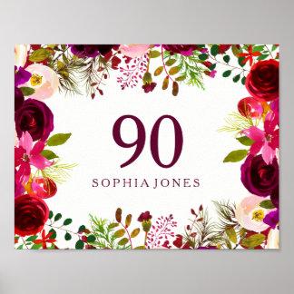Poster Fête d'anniversaire Boho de signe floral rouge de
