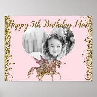 Poster Fête d'anniversaire de photo de licorne