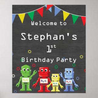 Poster Fête d'anniversaire orientée de robot de signe