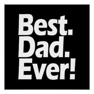 Poster Fête des pères noire/blanche de la meilleure excla