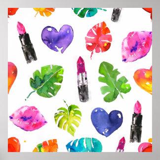 Poster Feuille de lèvres de rouge à lèvres de motif