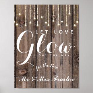 Poster Ficelle rustique de noce de lueur d'amour de